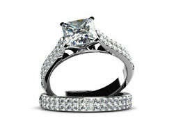 1.13 Ct Square Cubic Zirconia 14k White Gold Engagement/wedding Ring Sets