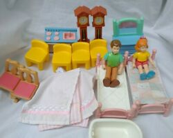 Lot Little Tikes Doll House Furniture Figures Accessories Beds Chairs Clocks