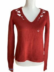 Brand New Aeropostale Womens V-neck Soft Sweater-knit Top Long Sleeve Sz Small