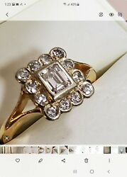 Vintage 18ct Y And W Gold Diamond Ring. Main Gem .50 Ct Total .80 Ct G-h Colour