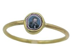3191antique Franchini Murrina Glass Portrait Of King Of Italy In 18kgold Ring.