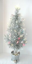 Collectible Vintage Fiber Optic Aluminum Table Top Christmas Tree 32