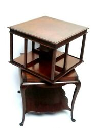 Antique Edwardian Mahogany Revolving Bookcase On Queen Anne Stand [ 7089 A ]