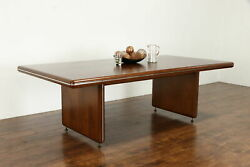 Midcentury Modern Walnut And Burl Vintage Conference Or Dining Table 36908