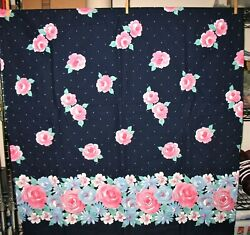 Vintage Cotton Rose Border Fabric * Border Along One Side * 1 Yard X 46quot; Wide