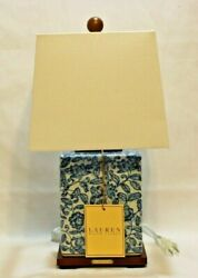 Blue And White Floral Asian Influence Porcelain Table Lamp Shade New