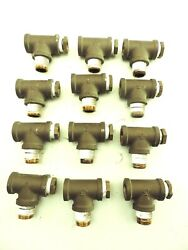 12 Pack Brass Pipe Fitting Tee 1/2 X 1/2 X 1/2 Female Pipe Npt W/1/4 Reducer