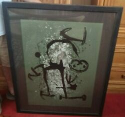 Joan Miro The Illiterate Green Lithograph Signed Numbered And Framed In Glass