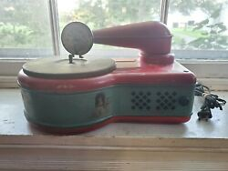 Vintage Lindstrom Child's Electric Phonograph Model 276 Tin Litho Toy Not Workin