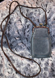 Rare LUCKY BRAND Mini Hobo Leather Crossbody Bag Pouch Stitched Design Blue $50.00