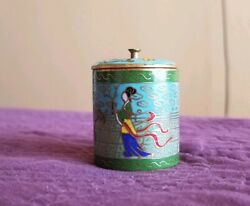 Vintage Qing Dynasty Antique Cloisonne Bronze Signed Round Jewelry Box Tobacco
