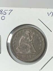 Quarter Dollars Liberty Seated 1857 O Not Certified
