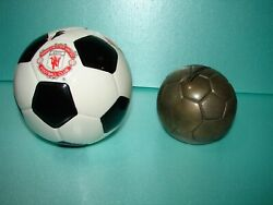 2 - Soccer Ball Banks - Manchester United Ceramic And Brass Generic W/cap.