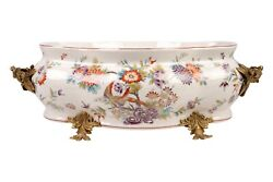Large Floral Chinoiserie Porcelain Foot Bath Basin Brass Ormolu Accents