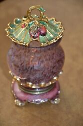 Rare Jay Strongwater Cherry Enamel Crystal Coffee Glass Sugar Serving Bowl And Lid