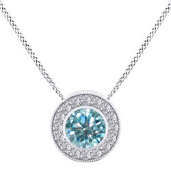 6 Ct Round Light Blue Moissanite Sterling Silver Halo Pendant W/ 18 Chain