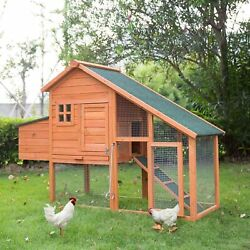 66quot; Large Wooden Outdoor Backyard Chicken Coop Hen Hutch Cage w Nesting Box