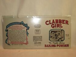 Vintage Clabber Girl Acting Baking Powder Flat Metal Id Plate Can Display Part
