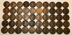 Roll Of 50 1915-d Lincoln Wheat Cents. Vg And F, About 1/3 Fine. Rd1