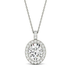 Moissanite By Charles And Colvard 10x8mm Oval Pendant Necklace, 3.35cttw Dew