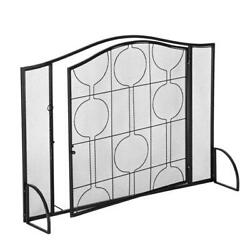 Fireplace Screen 1 Panel Wrought Iron Black Metal Fire Place Standing Gate Cover