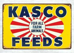 Vintage Reproduction Kasco Feeds Metal Tin Sign Metal Farm House Signs