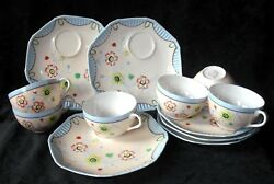 Vintage 12 Pc Floral Snack Set 6 Cups 6 Plates Made In Japan