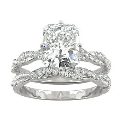 White Gold Moissanite By Charles And Colvard 9x7mm Radiant Ring Set, 3.42cttw Dew