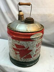 Vintage Wolfs Head  5 Gallon Gas Service Station Tin Can Sign Wood Handle