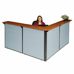 80w X 80d X 44h L-shaped Reception Station Cherry Counter/blue Panel