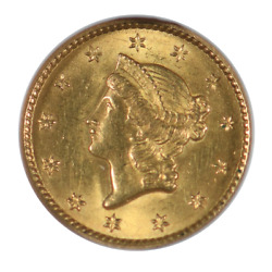 1849 1 Gold Liberty Head Type 1, Closed Wreath, Ngc Ms63
