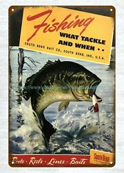 1949 South Bend Bait Co Rods Reels Lines Baits Fishing Tackle Metal Tin Sign
