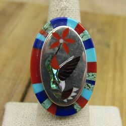 Vintage Multi-stone Inlay Hummingbird Ring Size 7.5 By Albert And Dolly Banteah