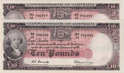 1954 Ten Pound Consecutive Pair Coombs/wilson R62 Uncirculated