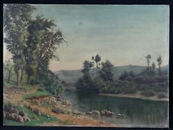 French School Antique Oil On Canvas Landscape With River Crozant France