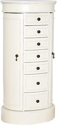 Hives And Honey Bailey Standing Oval Jewelry Armoire, Ivory