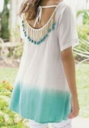 Soft Surroundings Ombre Shell Top Dip Dye Shell Accents Size Large