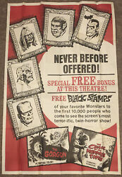 Universal Monsters Black Stamps Original 40 X 60 Movie Poster/ad - 1964