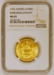 1976 Austria 1000 Schilling Gold Coin For Babenberg Dynasty Ngc Graded Ms65