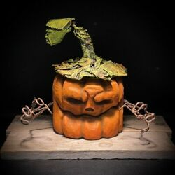 Hand Crafted Halloween Rotten Pumpkin Wood Carving Chainsaw Carving Shrum 🎃