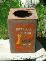 Vintage Large Hills Brothers Coffee Tin Red 20 Pound Can, San Francisco