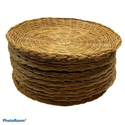 Lot Of 12 Vintage Natural Straw Wicker Rattan Woven Paper Plate Holders Picnic