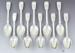 10 English Georgian Sterling Silver Fiddle Thread Shell 7 1/4 Spoons