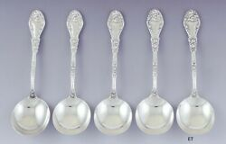 Nice Set 5 Durgin Sterling Silver Marechal Niel Large Gumbo Soup Spoons C Mono