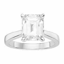 Moissanite By Charles And Colvard 10x8mm Emerald Engagement Ring, 3.55ct Dew