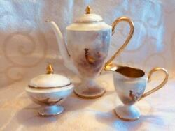 Royal Worcester Antique Coffee Pot Milk And Sugar Signed By J. Stinton