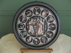 Rare Signed Egyptian 23 Copper Tray Wooden Table Vintage Mixed Metals 1970