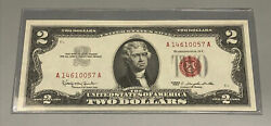 1963 2 Two Dollar Us Red Seal Jefferson Note Bill Us Currency Crisp Unc 395