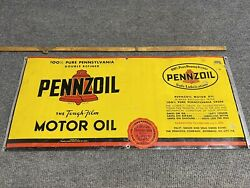 """Vintage Pennzoil Motor Oil Can Sign Great Color 20"""" X 9"""""""