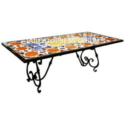 5and039x3and039 Black Marble Breakfast Table Top Multi Marquetry Inlay Living Decor E599